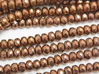 天然石卸 1連580円!ヘマタイト ボタンカット4×4×3mm ブロンズカラーコーティング 1連(約38cm)