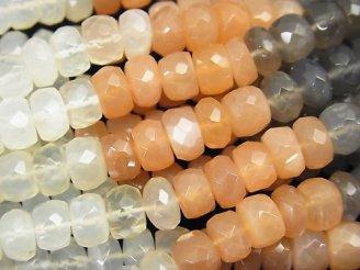 天然石卸 宝石質マルチカラームーンストーンAAA 大粒ボタンカット7×7×4mm 半連/1連(約35cm)