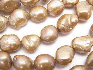 天然石卸 1連580円!淡水真珠AA バロック10〜13mm ゴールド 1連(約35cm)