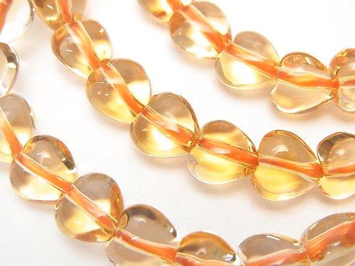 宝石質シトリンAAA 縦穴ハートシェイプ8×8×6mm 1連(ブレス)