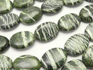 天然石卸 ブラジル産サーペンティン オーバル18×13×5mm 半連/1連(約36cm)