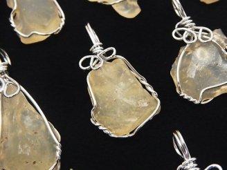 天然石卸 3個4,980円!稀少石「リビアンデザートグラス」 ラフロックタンブル ペンダントトップ ワイヤー枠