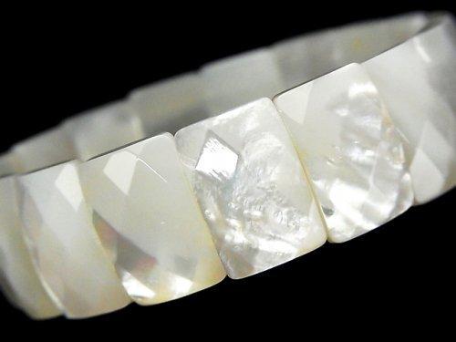 高品質ホワイトシェルAAA 2つ穴レクタングルカット18×12×5mm 1連(ブレス)