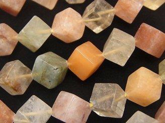 天然石卸 マルチカラー ルチルクォーツAA++ ダイス12×12×12 半連/1連(約38cm)