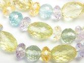 天然石卸 宝石質いろんな天然石AAA ボタンカット×ラウンドカット×ライスカット 1連(ブレス)