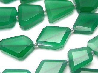 天然石卸 宝石質グリーンオニキスAAA フラットタンブルカット 半連/1連(約32cm)