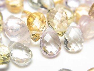 天然石卸 1連3,980円!宝石質いろんな天然石AAA ペアシェイプカット9×6×3 1連(約5cm)