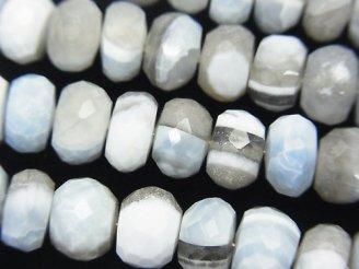 天然石卸 ストライプブルーオパールAAA- ボタンカット 半連/1連(約18cm)