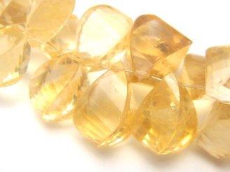 天然石卸 1点もの!宝石質シトリンAAA- ドロップ4面ツイスト ブリオレットッカット 1連(約16cm) NO.2