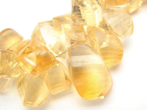 【動画】【1点もの】宝石質シトリンAAA- ドロップ4面ツイスト ブリオレットカット 1連(約16cm) NO.3
