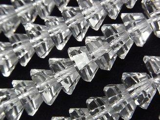 天然石卸 素晴らしい輝き!クリスタルAAA ピラミッドカット10×10×5mm 1/4連〜1連(約38cm)