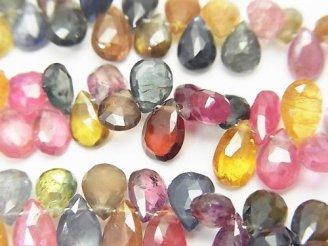天然石卸 宝石質マルチカラーサファイアAAA- ペアシェイプ ブリオレットカット 半連/1連(約16cm)