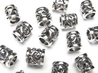 天然石卸 1個480円!Silver925 デザイン入りロンデル6.5×6×6 1個