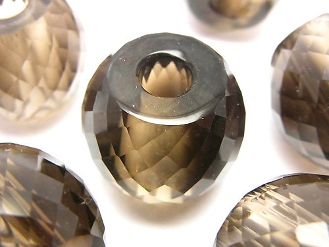 宝石質スモーキークォーツAAA 大粒ラウンドカット19×22×22mm 【6mm穴】 1個