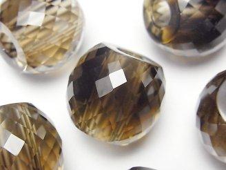 天然石卸 宝石質スモーキークォーツAAA 大粒ラウンドカット19×22×22 【6mm穴】 1個1,480円!