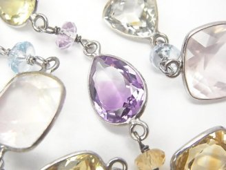 天然石卸 1点もの!宝石質いろんな天然石AAA 枠留めファセットカット 1連(ネックレス88cm) SV925 NO.31