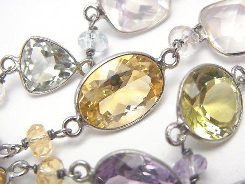 【1点もの】宝石質いろんな天然石AAA 枠留めファセットカット 1連(ネックレス88cm) SV925 NO.32