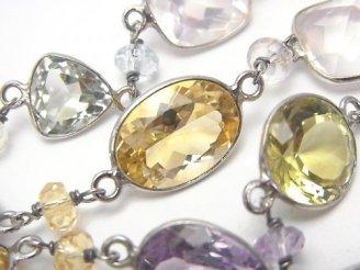 天然石卸 1点もの!宝石質いろんな天然石AAA 枠留めファセットカット 1連(ネックレス88cm) SV925 NO.32