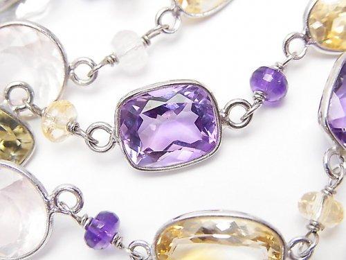 【1点もの】宝石質いろんな天然石AAA 枠留めファセットカット 1連(ネックレス88cm) SV925 NO.33