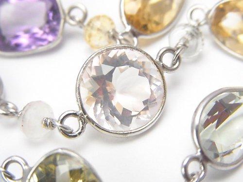【1点もの】宝石質いろんな天然石AAA 枠留めファセットカット 1連(ネックレス88cm) SV925 NO.35