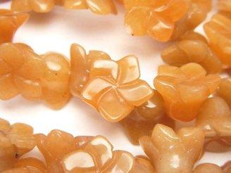 天然石卸 オレンジアベンチュリン フラワー14×14×9mm1/4連〜1連(約36cm)