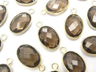天然石卸 宝石質スモーキークォーツAAA 枠留めオーバル14×10 クッションカット 18KGP 3個1,180円!