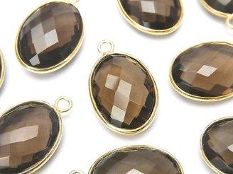 天然石卸 宝石質スモーキークォーツAAA 枠留めオーバル18×13mm クッションカット 18KGP 3個1,480円!