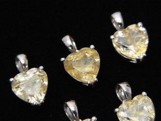 天然石卸 宝石質ルチルクォーツAAA ハートファセットカット型ペンダントトップ8×8×6mm SILVER925製