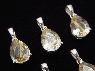 天然石卸 宝石質ルチルクォーツAAA ペアシェイプファセットカット ペンダントトップ10×7×5mm SILVER925製