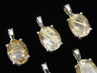 天然石卸 宝石質ルチルクォーツAAA オーバルファセットカット ペンダントトップ9×7×6mm SILVER925製