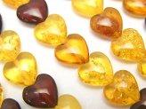 天然石卸 バルティックアンバー(琥珀) マルチカラー 縦穴ハート10×10×5mm 1/4連〜1連(約38cm)