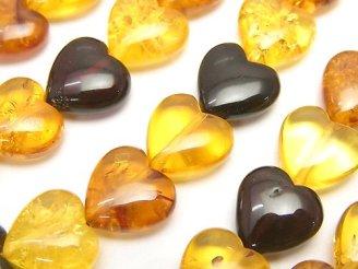 天然石卸 バルティックアンバー(琥珀) マルチカラー 縦穴ハート11×11×5mm 1/4連〜1連(約38cm)