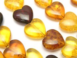 天然石卸 バルティックアンバー(琥珀) マルチカラー 縦穴ハート12×12×5mm 1/4連〜1連(約38cm)