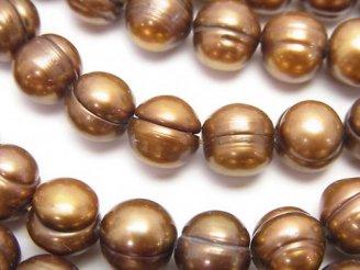 天然石卸 1連580円!淡水真珠AA 縞入りポテト8〜9mm ブロンズゴールド 1連(約38cm)