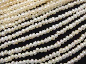 天然石卸 1連1,280円!極小淡水真珠ケシパールAAA' ポテト2〜2.5mm ホワイト 1連(約37cm)