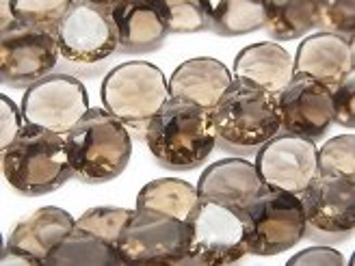 天然石卸 1連1,580円!宝石質スモーキークォーツAAA マロン ファセットカット 【ミディアムカラー】 1連(約18cm)