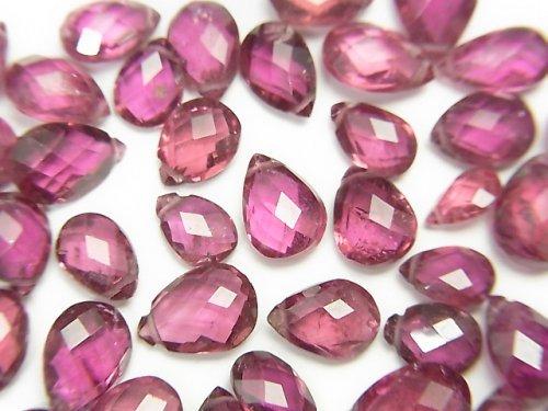 【粒売り】宝石質ルベライト(レッドトルマリン)AAA ペアシェイプ ブリオレットカット 【Sサイズ】 5粒