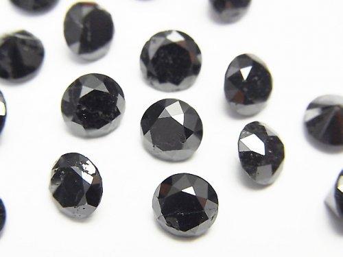 【動画】ブラックダイヤモンドAAA- 穴なしラウンドファセットカット6×6mm 1粒