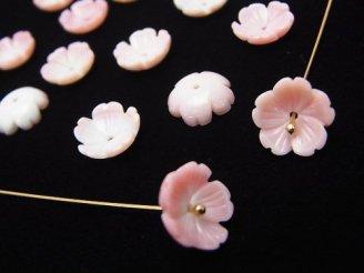 天然石卸 クィーンコンクシェルAAA 立体フラワー(桜) 10×10×1.5 中央穴 4枚780円!