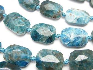 天然石卸 ブルーアパタイトAA+ フラットタンブルカット 半連/1連(約36cm)