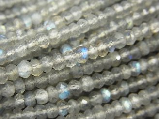 天然石卸 1連980円!宝石質ラブラドライトAAA ボタンカット3×3×2mm 1連(約30cm)