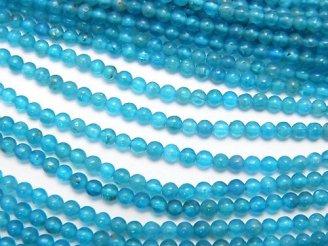 天然石卸 1連880円!ネオンブルーアパタイトAA++ 極小ラウンド2mm 1連(約38cm)