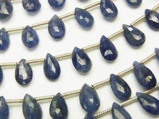 天然石卸 宝石質ブルーサファイアAAA ペアシェイプ ブリオレットカット 半連/1連(約18cm)