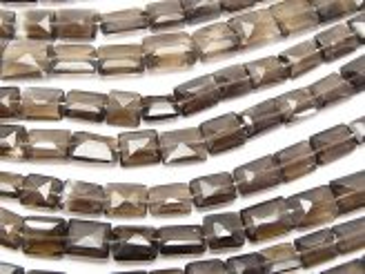天然石卸 スモーキークォーツAAA- レクタングルカット  半連/1連(約36cm)