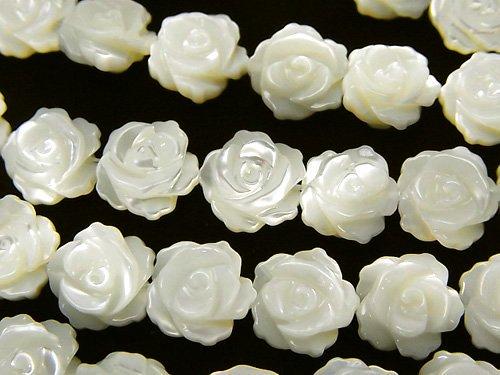 マザーオブパールAAA ホワイト 薔薇(ローズ)10mm 1/4連〜1連(約34cm)