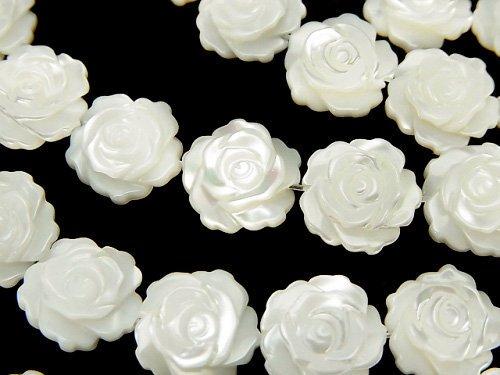 マザーオブパールAAA ホワイト 薔薇(ローズ)12mm 半連/1連(約31cm)