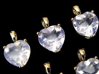 天然石卸 宝石質スコロライトAAA ハート型ファセットカット 【S】【M】 ペンダントトップ 18KGP製