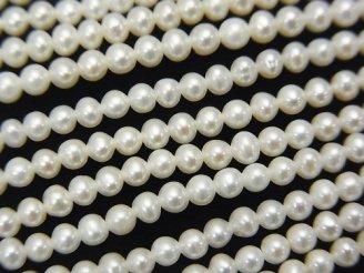 天然石卸 1連2,980円!淡水真珠AAA ラウンド3mm ホワイト 1連(約38cm)
