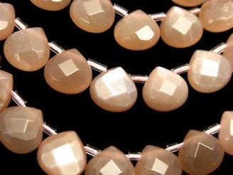 天然石卸 オレンジムーンストーンAAA- マロン ブリオレットカット10×10×5 半連/1連(約34cm)