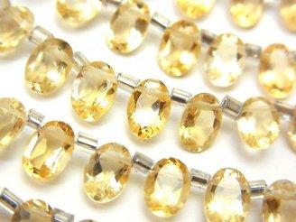 天然石卸 宝石質シトリンAAA オーバルファセットカット7×5×3 半連/1連(約18cm)